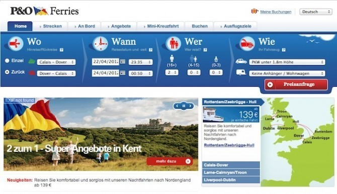 Gutschein für P&O Ferries / © Screenshot www.poferries.de