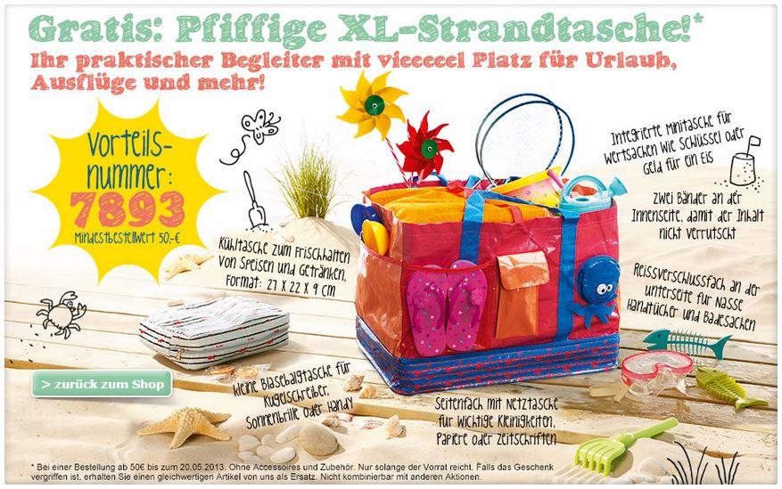 Gratis Strandtasche (c) Screenshot vertbaudet.de